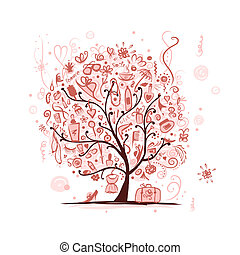 arte, albero, accessori, disegno, femmina, tuo