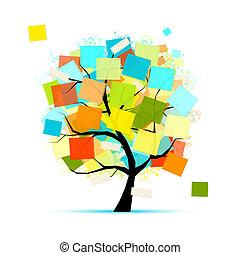 arte, albero, con, adesivi, per, tuo, disegno