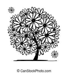 arte, albero, con, camomiles, per, tuo, disegno