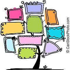 arte, albero, con, cornici, per, tuo, disegno