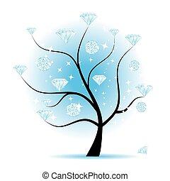 arte, albero, con, diamanti, per, tuo, disegno