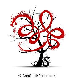 arte, albero, con, draghi, per, tuo, disegno