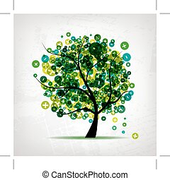 arte, albero, con, segni, di, più, e, meno, per, tuo, disegno