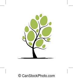 arte, albero, con, uova pasqua, per, tuo, disegno