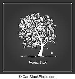 arte, albero, disegno, fondo, nero, tuo