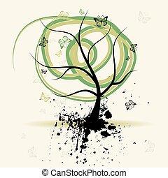 arte, albero, grunge, fondo