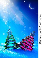 arte, albero natale, giocattolo, su, blu, notte, fondo