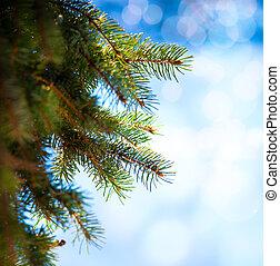 arte, albero natale, ramo, su, uno, sfondo blu
