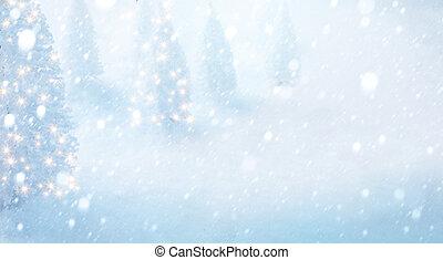 arte, albero natale, su, neve, fondo