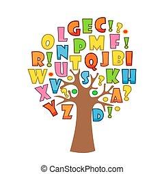 arte, alfabeto, árvore, desenho, letras, seu