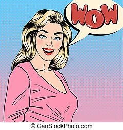 arte, alfinete, banner., cima, estouro, wow., vetorial, ilustração, bonito, woman., feliz, bolha, blonde., surpreendido, girl.