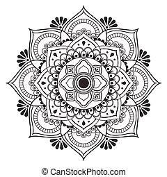 arte antica, immagine, tradizionale, vettore, disegno, fiore, tailandese