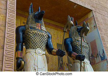 arte antiga, egípcio, anubis, estatueta, estátua, escultura