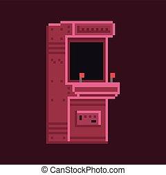 arte, arcada, gabinete, máquina, vetorial, retro, 8, bit,...