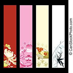 arte asiático, banderas