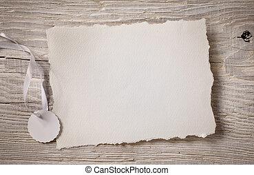 arte, aviso, tarjeta, blanco, papel, en, madera, plano de fondo
