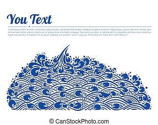 arte, azul, tailandês, ondas, linha, mar