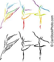 arte, balé, silueta, linha