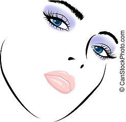 arte, bellezza, face., lavoro, illustrazione, vettore, ragazza