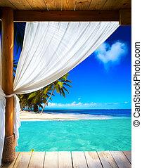 arte, bello, spiaggia, vista, fondo