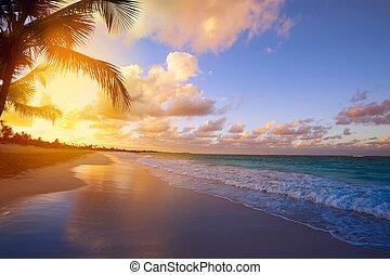 arte, bonito, amanhecer, sobre, a, praia tropical