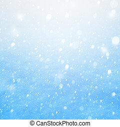 arte, caer, nieve, en, el, fondo azul