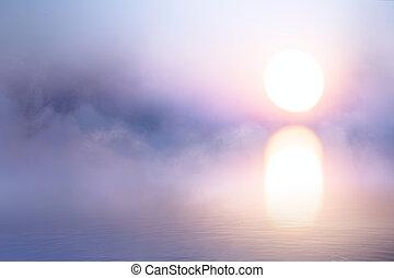 arte, calmo, fundo, névoa, sobre, água, em, amanhecer