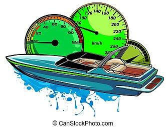 arte, carrera, barco, diseño, motor, ilustración, vector