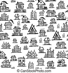 arte, case, seamless, fondo, per, tuo, disegno
