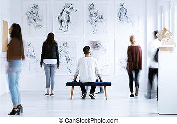 arte, centro, uomo