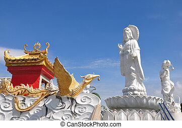 arte, chino, imagen, yin, buddha, kuan