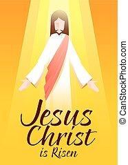 arte, christ, levantado, tipografia, jesus, fundo, laranja