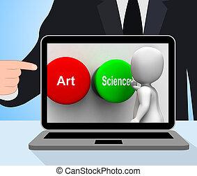 arte, científico, ciência, botões, monitores, ou, artisticos