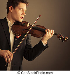 arte, clássico, violinist, música, violin., tocando, homem