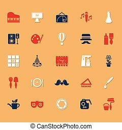 arte, classico, colorare, icone, attività, uggia