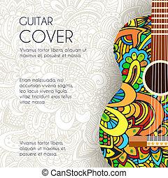 arte, classico, concept., ornamento, illustrazione, mano, chitarra, vettore, disegno, fondo, disegnato