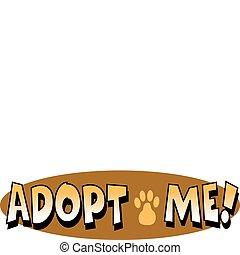 arte, clip, animal estimação, cão, sinal, adoção