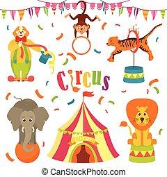 arte, clip, circo, -, isolado, vetorial, branca