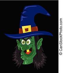 arte, clip, dia das bruxas, ilustração, vetorial, feiticeira