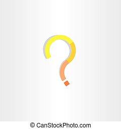 arte, clip, domanda, marchio giallo, vettore