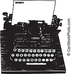 arte, clip, -, manual, retro, máquina escrever