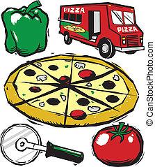 arte, clip, pizza