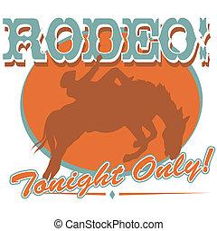 arte, clip, vaquero, señal, rodeo, occidental