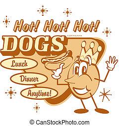 arte, clip, vendimia, perro, señal, caliente, retro
