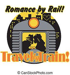 arte, clip, vendimia, señal, tren, retro