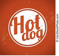 arte, clip, vindima, -, cão, quentes