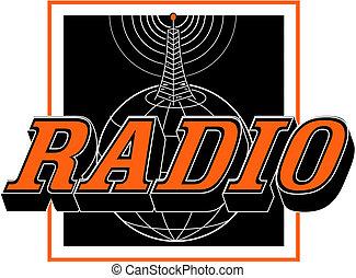 arte, clip, vindima, sinal, torre rádio