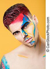 arte, colorido, experiência., fashion., maquilagem, jovem, face amarela, fantasia, retrato, profissional, pintura, homem