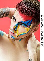 arte, colorido, experiência., fashion., maquilagem, jovem, rosto, fantasia, retrato, profissional, pintura, vermelho, homem