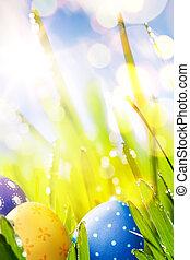 arte, coloridos, ovos páscoa, decorado, em, a, capim, ligado, céu azul, bac